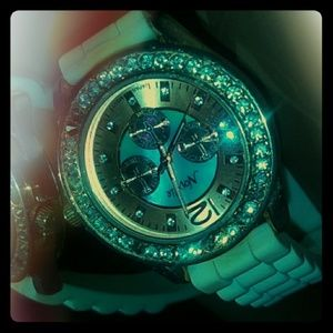 White watch with diamonds